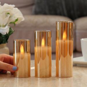 3 Pack | Battery LED Flameless Flickering Amber Glass Pillar Candles Christmas