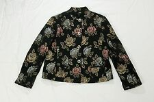 Field Manor women's mandarin collar jacket black floral Size XL poly/cotton
