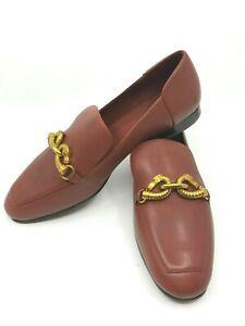 Tory Burch NEW Jessa Dark Sienna Calf Leather Gold Horse Loafer $348 RUNS SMALL