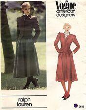 604ms Vogue Am.designer Ralph Lauren Chaqueta & Falda Modelo 2615 Talla 10 sin