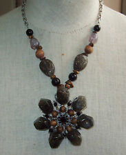 & Beaded Necklace ~ Unsigned Silvertone Chunky Faux Stone Black Rhinestones