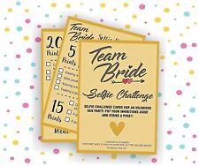 10 x Team Bride Selfie Challenge Cards - Hen Party Accessory Photo Selfie Game