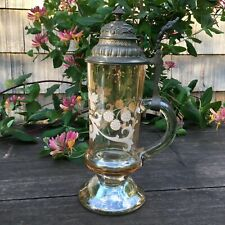 Antique Cut Glass Bohemian Beer Stein Pewter Lidded Germany 1880's 1/2 Liter