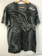 Affliction T-Shirt Men's M Medium Gray Grave Angel Tee Distressed Embroidered
