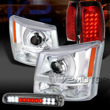 03-06 Silverado Clear Projector Headlights+Red LED Tail Smoke 3rd Stop Lamps