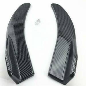 2xLook Rear Bumper Carbon Fiber Fin Canard Splitter Diffuser Valence Spoiler Lip