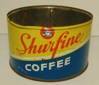 Vintage 1950s Shurfine COFFEE GRAPHIC COFFEE TIN ONE POUND Northlake Illinois IL