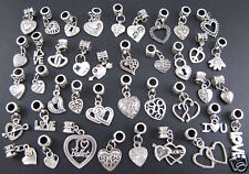 40X Tibetan Silver Charms Beads Heart Style Wholesale Fit European Bracelet A+++