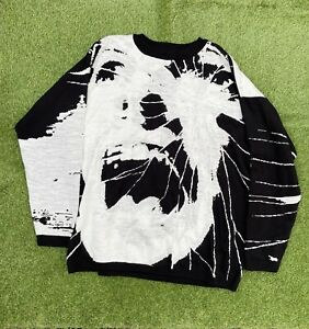 INSANE AVANT-GARDE Russian Scream Knit Sweater Black White Mens Size L