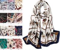 100% Silk Satin Women Scarf neckerchief Shawl Wrap ladies brown blue S287-007