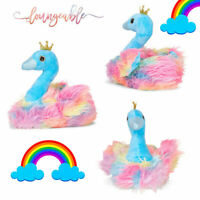 Loungeable Womens Novelty Rainbow Swan Soft Slippers 3D Novelty Indoor Shoes