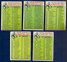 1964 Topps Lot of 5 Checklist #76 1st 102 2nd 188 3rd 362 4th & 438 6th Series