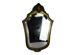 Wooden Mirror Marked Dollanzo Baroque Style Hollywood Regency Beveled Glass