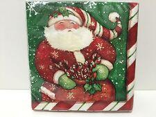 NWT Tapestry Peppermint Santa Beverage Napkins, pkg of 20