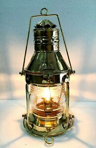 """Vintage Heavy Duty Nautical Solid Brass 15"""" Electric Hanging Lantern Home Decor"""