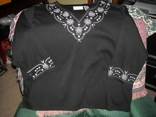 ALFRED DUNNER, BLACK WOMEN'S TOP, SZ 1X, W/EMBROIDERY,3/4 SLEEVES    PO