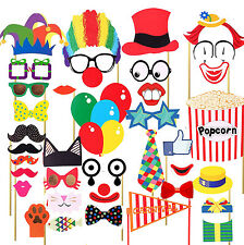 36PCS Circus Clown Birthday Party Masks Photo Booth Props Mustache US SHIP