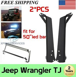 "For TJ 1997-2006 Jeep Wrangler 50"" LED Light Bar Upper Roof Mounting Brackets"
