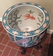 Vtg 70's Jardiniere Planter Oriental Floral Bird Goldfish With Wooden Stand
