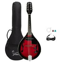 Glarry A Style 8-String Acoustic Electric Mandolin Double-Duty Sunset Red w. Bag
