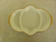 Vintage Fire King Milk White Gold Trim Snack Relish Serving Dish