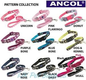 Ancol Dog Fashion Adjustable Nylon Collars Leads - Flamingo Unicorn Bone Skull