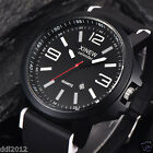 XINEW Mens Watches Silicone Band Date Quartz Analog Waterproof Sport Wrist Watch