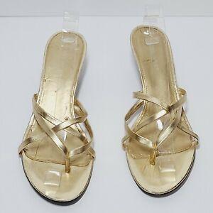 Nine West Gold Slide Kitten Heels Women's Size 9