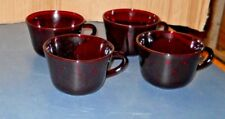 """VINTAGE 4 ANCHOR HOCKING GLASS ROYAL RUBY RED CUPS MUGS FLAT BASE 2 3/8"""" TALL"""
