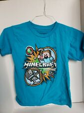 Minecraft Graphic T-Shirt Youth Size M 8 Steve Creeper Teal Trading Cards Tee