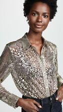 EQUIPMENT Metallic Gold Leopard Blouse Top