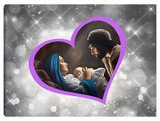 Quadro moderno 100x70 sacra famiglia madonna gesù capezzale argento stelle viola