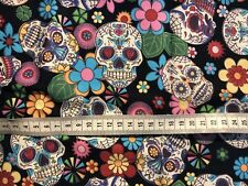 Candy Skull Day Of Dead Cotton Fabric Material Goth Rock Halloween by Metre
