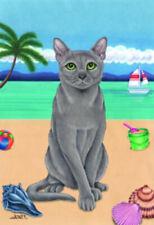 Beach Garden Flag - Russian Blue Cat 640061