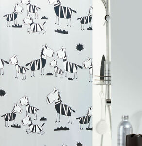 Zebi Black Shower Curtain 70 7/8x78 11/16in 100% Peva, Zebra, Branded Swiss