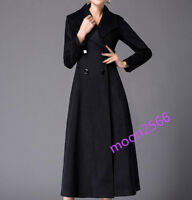 Women's Double Breasted Cashmere Coat Long Jacket Trench Parka Slim Belted Wool