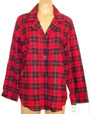New Chaps Red Plaid long sleeve button down Pajama shirt L, large