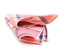 Men's Cotton Pocket Square Peach Blue & Yellow Plaid & Checkered Handkerchiefs