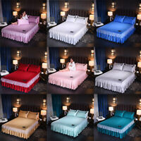 Luxury Satin Silky Bed Skirt /Pillowcase Dust Ruffle Elegant Bed Sheet Bedspread