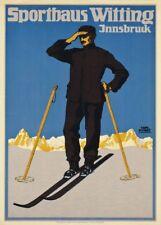 Vintage Ski Posters SPORTHAUS WITTING, INNSBRUCK, Austria, 1910's, Travel Print