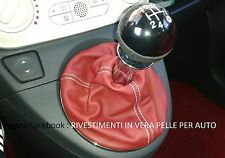 Cuffia leva cambio in vera pelle NUOVA FIAT 500 colore pelle rosso FRAU