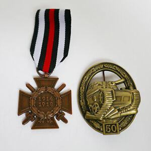 WW1 German Medal Honor Cross and WW2 German Military Badge Tank Panzer 50 Repro