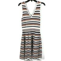 Sandro Paris Rayke Knit Dress 3 Large Burgundy Brown Striped V Neck Fit & Flare