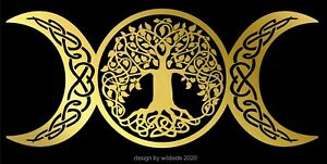 Triple Moon Goddess Decal Tree Of Life Wicca Pagan Witch vinyl altar sticker