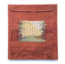 1970s Modernist Fiber Art Wall Hanging Copper Wire & Wool Weaving, Artist Signed