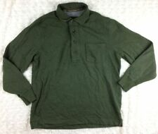 Eddie Bauer Mens Polo Shirt Size Medium Olive Green Thermal Lined