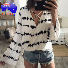 Women Casual V-neck Loose Long Sleeve Printed Tops Chiffon Casual Blouse T shirt