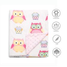 """Boritar Super Soft Baby Blanket Throw with Minky Raised Dotted Pink Owls 30""""x40"""""""