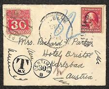 USA TO AUSTRIA SCOTT J42a POSTAGE DUE STAMP LADIES COVER 1912