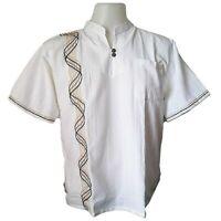 Mens Mandarin Collar White Shirt Cotton Hippie T-Shirt Embroidered S M L XL 2XL